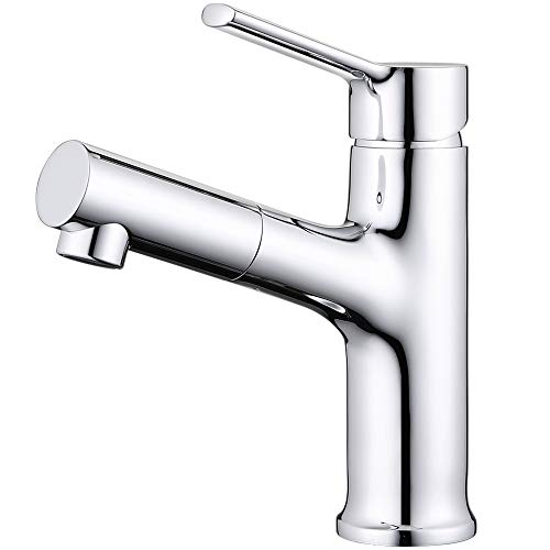 (TAIMIKO Bathroom Sink Faucet Kitchen Sink Faucet with Pull Out Shower Sprinkler Mixer Tap Bath Tap Brass Rotatable Single Lever Faucet Bath Filler Bathroom Basin Tap 360 Swivel Extender 3 Yr Warranty)