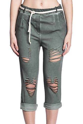 Abbino 5533 3/4 Pantalones Used Look para Mujeres - Hecho en ITALIA - 7 Colores - Entretiempo Primavera Verano Otoño Largos Deporte Casual Chico Fashion Elegantes Rebajas Atractivo Cordón Algodón Verde Caqui