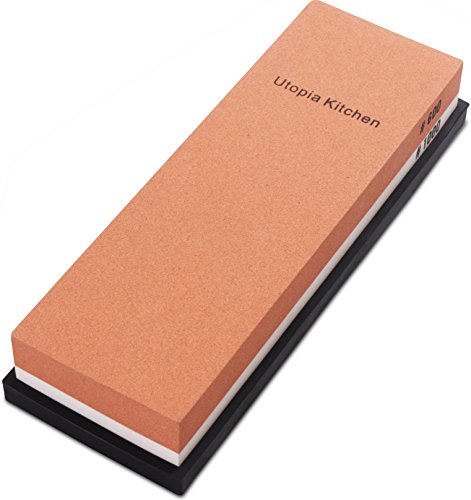 (Utopia Kitchen Double-Sided Whetstone - Knife Sharpening Stone - Multi-Colored - 600/1000 Grit)