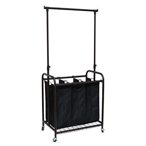 Studio Grab Bar (Oceanstar 3-Bag Rolling Laundry Sorter with Adjustable Hanging Bar, Bronze)