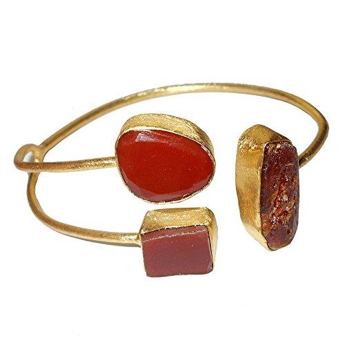 Handcrafted 18K Gold Vermeil Natural Carnelian Cuff Bracelet For Women