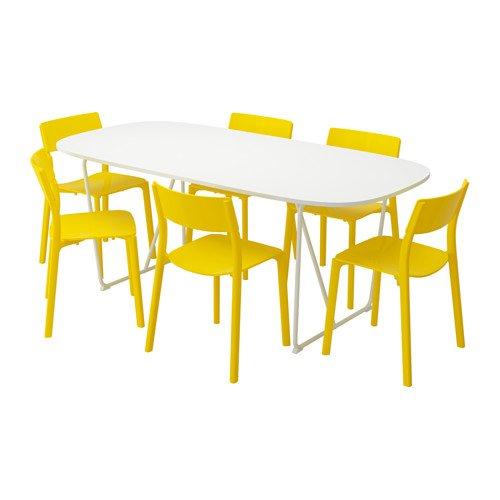 Ikea Table and 6 chairs, white, yellow 18204.2128.1822