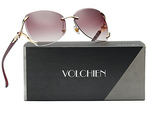 - VOLCHIEN Fashion Oversized Rimless Sunglasses Rhinestone Sunglasses for Women Men UV Protection VC1012 (Wine Red Lens/Wine Red Arm)