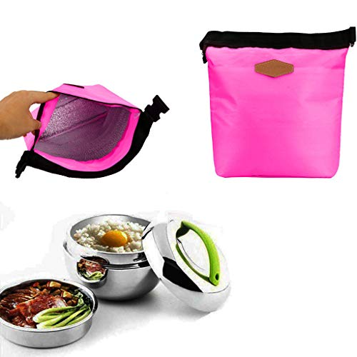 HighlifeS Lunch Bag Waterproof Thermal Fashion Cooler Insulated Lunch Box More Colors Portable Tote Storage Picnic Bags (Hot pink) by HighlifeS (Image #4)