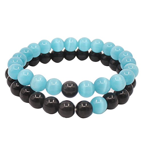 Lucky Ying Yang Balance - UEUC Couple His and Hers Distance Bracelet Ying Yang Balance Friendship Cat's Eyes Stone for Lovers&Maiden Honey Friend (Black/Sky Blue)