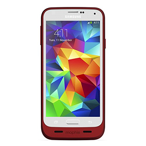mophie 2333 Juice Pack External Recharagable Cell Phone Battery Case for Samsung Galaxy S5 (3,000 mAh) - Red (Rechargeable Battery Case S5)