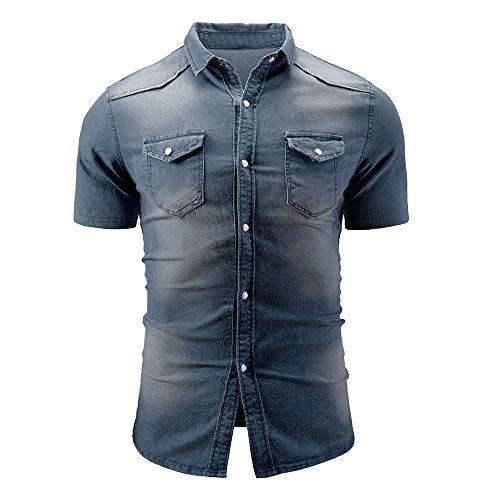 Poche Imjono Jean xxxl Courtes En Chemise Homme Chemisette Slim Chemise nbsp;bouton shirt M Coupe nbsp;avec Manches Sport Casual T Bleu ftwrU6fq