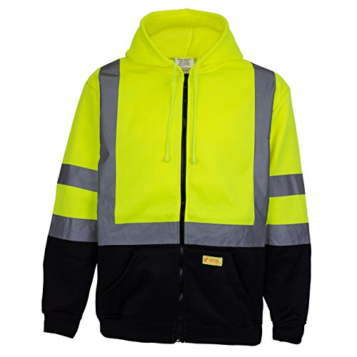 New York Hi-Viz Workwear H9012 Men's ANSI Class 3 High Visibility Class 3 Sweatshirt, Full Zip Hooded, Lightweight, Black Bottom (XX-Large) by New York Hi-Viz Workwear (Image #1)