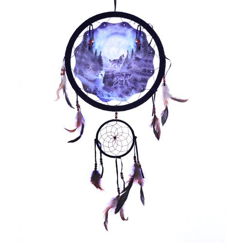 OBI 13inch Wolf Dream Catcher - Wildlife Wolves Howling at Moon Mandella - Reproduction