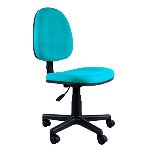 Clearance Emall Life Mid-back Desk Chair 360° Adjustable Swivel Office Chair Armless Fabric Task Chair (Aquamarine)