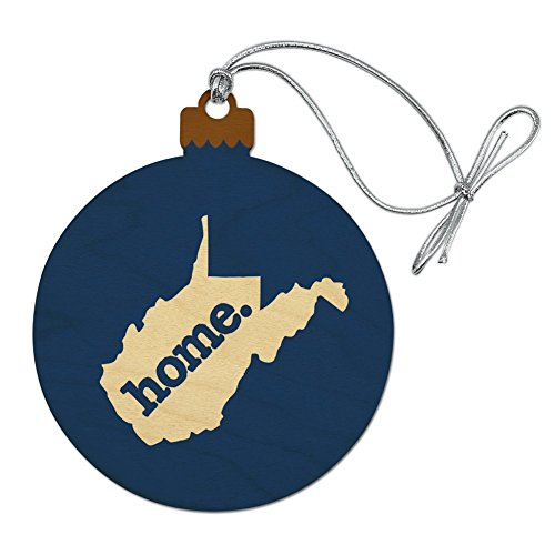 Virginia WV Home State Solid Navy Blue Officially Licensed Wood Christmas Tree Holiday Ornament ()