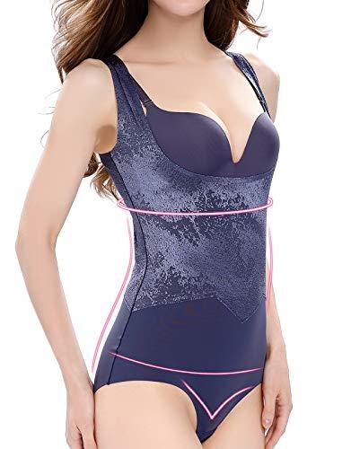 Lynmiss Women Body Shaper Firm Tummy Control Shapewear Seamless Open Bust Bodysuit, Blue, XL -