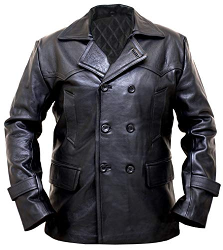 - German WWII Black Leather Coats for Men - Leather Pea Coats for Men - Winter Coats (Black - Pea Coat Men, 2XL/Body Chest 46