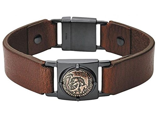 Diesel Mens Brown Leather - Diesel Mens Biker Stainless Steel & Brown Leather Cuff Bracelet DX0775040