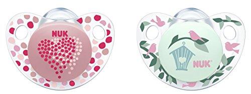 NUK 10175132 Trendline Silikon-Schnuller, Größe 1, 0-6 Monate, kiefergerechte Form, BPA frei, 2 Stück, Girl