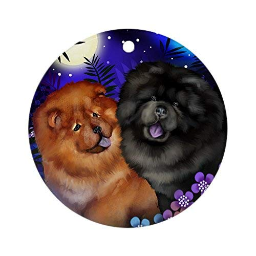 Louis Red and Black Chow Chow Dogs Moon Ceramic Ornament 3 inch Round Holiday Christmas Ornament (Christmas Chow Ornament)