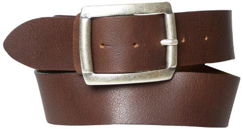 FRONHOFER leather belt antique silver rectangular buckle 17245, Size:waist size 35.5 IN L EU 90 cm;Color:Cognac