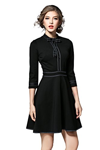 Women's 3/4 Sleeves Bow Tie A-line Casual Cocktail Swing Skater Dress (S, Black) (Black Cat Dress)
