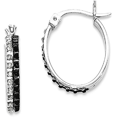 ICE CARATS 925 Sterling Silver Black White Diamond Oval Hinged Hoop Earrings Ear Hoops Set Fine Jewelry Gift For Women Heart by ICE CARATS