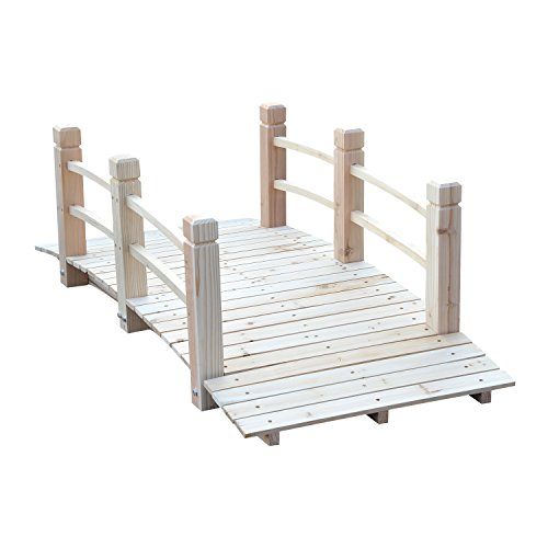 (Outsunny 5' Wooden Rustic Decorative Garden Bridge with Railings - Natural Wood)