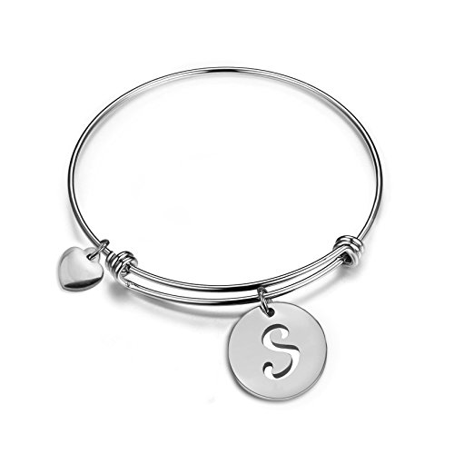 (Zuo Bao Silver Initial Disc Expandable Wire Bracelet Bangle with Heart Charm Stainless Steel Alphabet Charms Bangle Letter Bracelet (S))