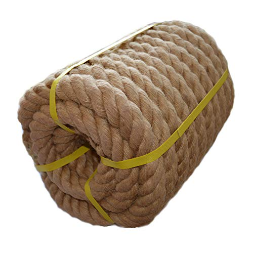 - Twisted Manila Rope Jute Rope (1.5 in x 50 ft) Natural Thick Heavy Duty Hemp Rope for Crafts, Nautical, Landscaping, Railings, Hanging Swing