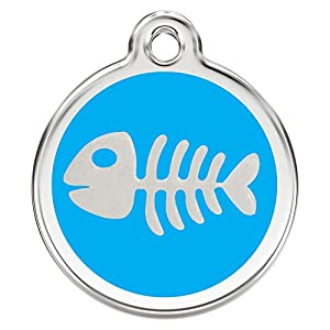 Stainless Steel with Enamel   Dog Tags Pet Tags Cat Tags   Designers Round   Many Shapes to Choose From   by CNATTAGS (LIFE TIME WARRANTY) (Round Fish)
