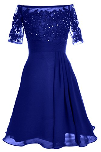 MACloth Women Off Shoulder Mother of Bride Dress with Sleeve Midi Cocktail Dress Azul Real