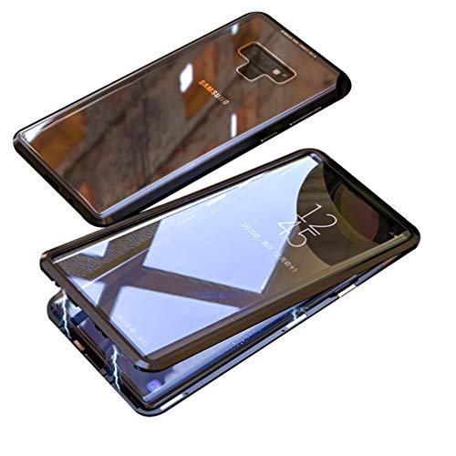 UMTITI Compatible Samsung Galaxy Note 9 Case, Magnetic Clear Double-Sided Tempered Glass Cover with a Screen Cleaning Paper (Black)