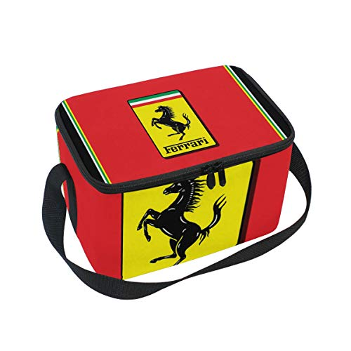 Premium Insulated Lunch Bag with Shoulder Strap | Ferrari Emblem Lunch Box for Adults, Teens | Soft Leak Proof Liner | Medium Lunch Cooler for Office, School
