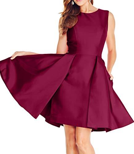 Abschlussballkleider Mini La Satin Weinrot Brautjungfernkleider Abendkleider Kurz Ballkleider Partykleider mia 2018 Braut wr00q7IFZ