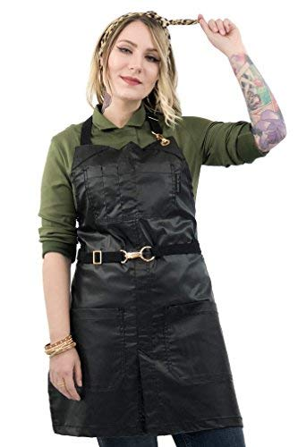 Under NY Sky No-Tie Black Apron – Coated Twill with Golden Hardware, Leather Reinforcement, Split-Leg, Adjustable for Men and Women – Pro Barber, Tattoo, Bartender, Hair Stylist Aprons – Small Size by Under NY Sky (Image #7)