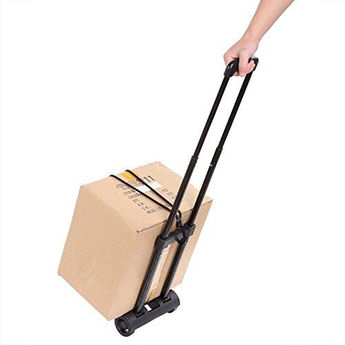 anfan carrito de la compra dos ruedas plegable carro de mano utilidad (US stock), Negro