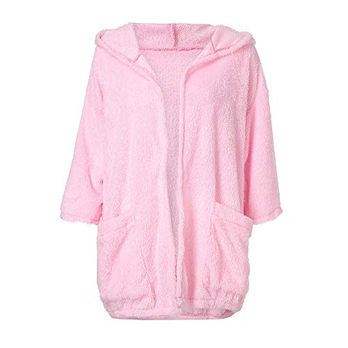 Open Autumn Sleeve Stitch Hooded Women Thick Cardigan Jacket Coat NEEDRA Long Pink aYtxS5qqw