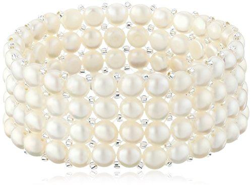 Bella Pearl Triple Row White Stretch Bracelet