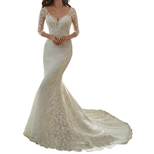lace 1/2 sleeve wedding dress - 1