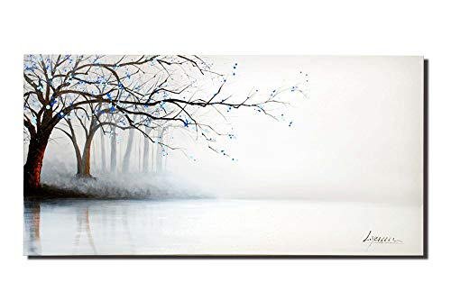 Set Hand Painted Bed (ARTLAND Hand-Painted 24x48-inch 'Fog River' Gallery-Wrapped Landscape Oil Painting on Canvas Wall Art Set)