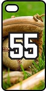 Baseball Sports Fan Player Number 55 Black Plastic Decorative iphone 4s Case