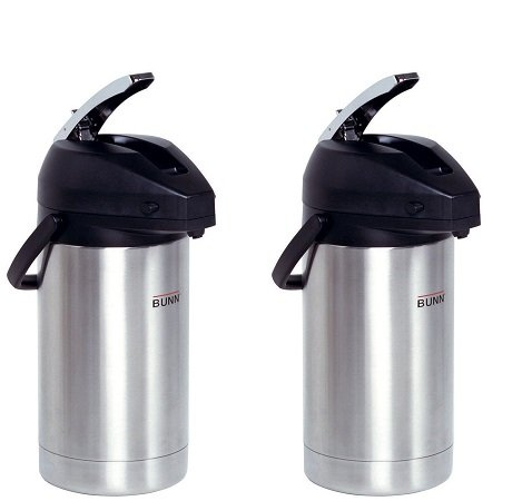 BUNN 32130.0000 3.0-Liter Lever-Action Airpot, Stainless Steel (2-Pack)
