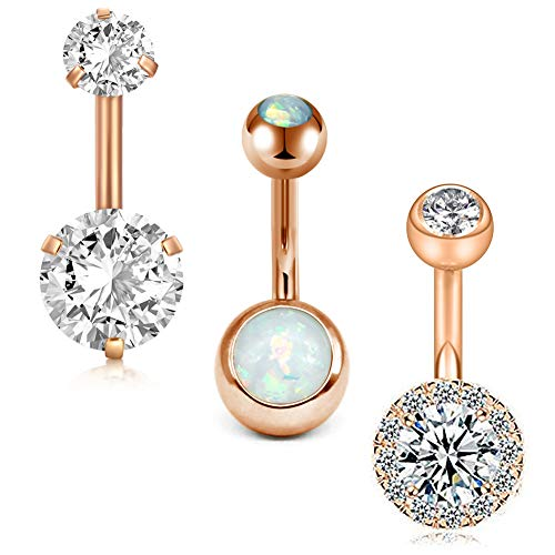 MODRSA 14G Stainless Steel Belly Button Rings for Women Girls Navel Barbell Stud CZ Body Piercing Rings 10mm - Metal Surgical