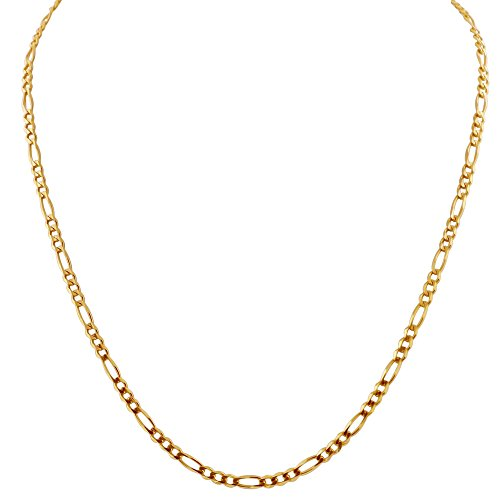 Q&S Jewels 4mm Figaro Chain for Men Women 18K Gold Plated Stainless Steel Link Cuff Chain for Men Women,Fashion Jewelry Necklace, Wear Alone or with Pendant (24Inch)