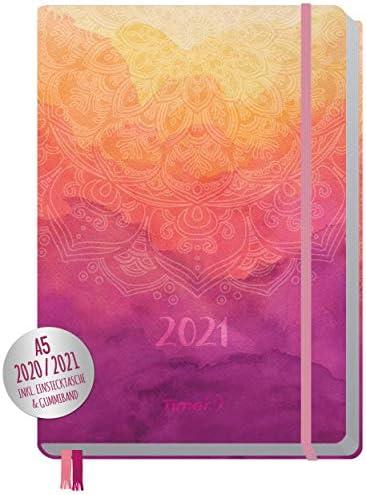 Chäff-Timer Premium Kalender 2020/2021 A5 [Mandala] Terminplaner 18 Monate: Juli 20 - Dez. 21 | Terminkalender, Wochenplaner mit Gummiband & Einstecktasche | klimaneutral & nachhaltig