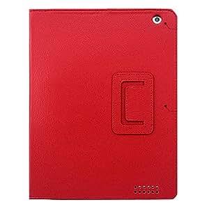 HOR Lichi Grain reposo automático y Wake-Up funda de cuero de la PU con el soporte para el iPad 2/3/4 (colores opcionales) , Rojo