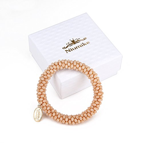 Niumike Braided Crystal Bracelets For Women,100% Hand-Made Seed Beads Stretch Bracelet, Box (Tawny) Beads Stretch Bracelet Box