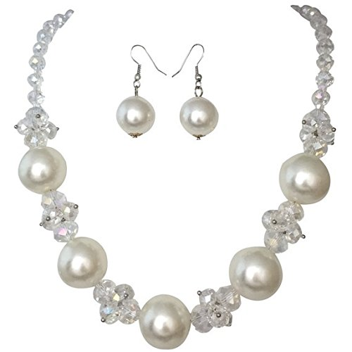 [Simulated Pearl and AB Glass Cluster Bridal Weddings Necklace Earrings] (Little Girl Gypsy Costumes)