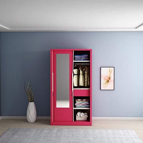 Godrej Interio Slide N Store Pro 2-Door Wardrobe with Mirror (Matte Finish, Textured Blush Red)