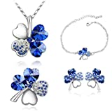 Mondaynoon-Valentines-Day-Gift-Lucky-Four-Leaf-Clover-Womens-Crystal-Jewelry-Set-Australia-Import-Necklace-Bracelets-Earrings-and-Brooch-Ensemble