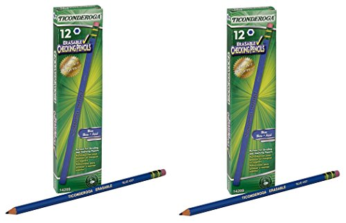 Dixon Ticonderoga Erasable Checking Pencils, Eraser Tipped, Pre-Sharpened, Blue (14209) (2-Pack of 12)