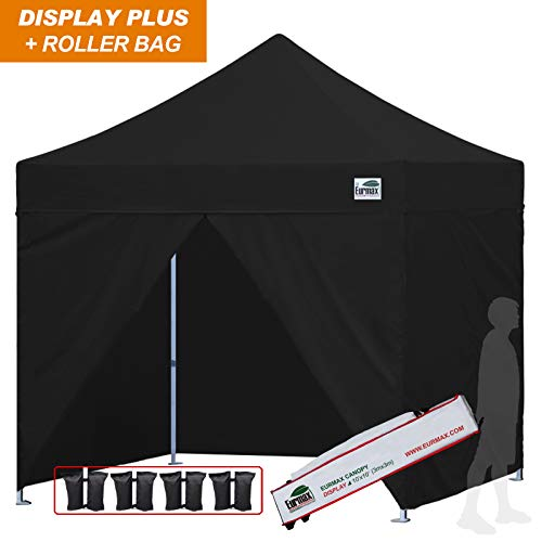 Eurmax 10×10 Ez Pop up Canopy, Commercial Party Tent, Outdoor Shelter with 4 Zippered Sidewalls and Roller Bag (Black)