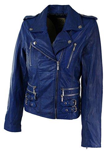 Cuir Clair Véritable Motard Femme Veste Fille Bleu Style Uwq0w7xI